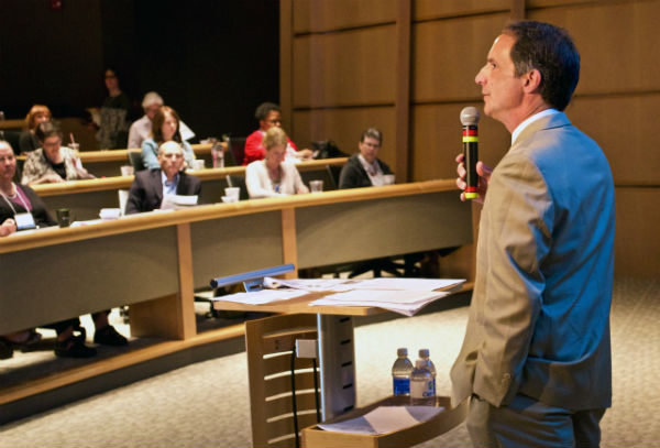 """Tri-County Mental Health Services CEO Tom Petrizzo was master of ceremonies for the """"Make the Connection"""" event Friday, May 6 in North Kansas City. A kickoff for Mental Health Awareness Month in Kansas City, the daylong dialog was held at Cerner in North Kansas City."""